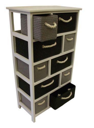Black Grey White Large Storage Unit Canvas Drawers Basket Rope Bedroom Bathroom Large Storage Units Drawers Storage