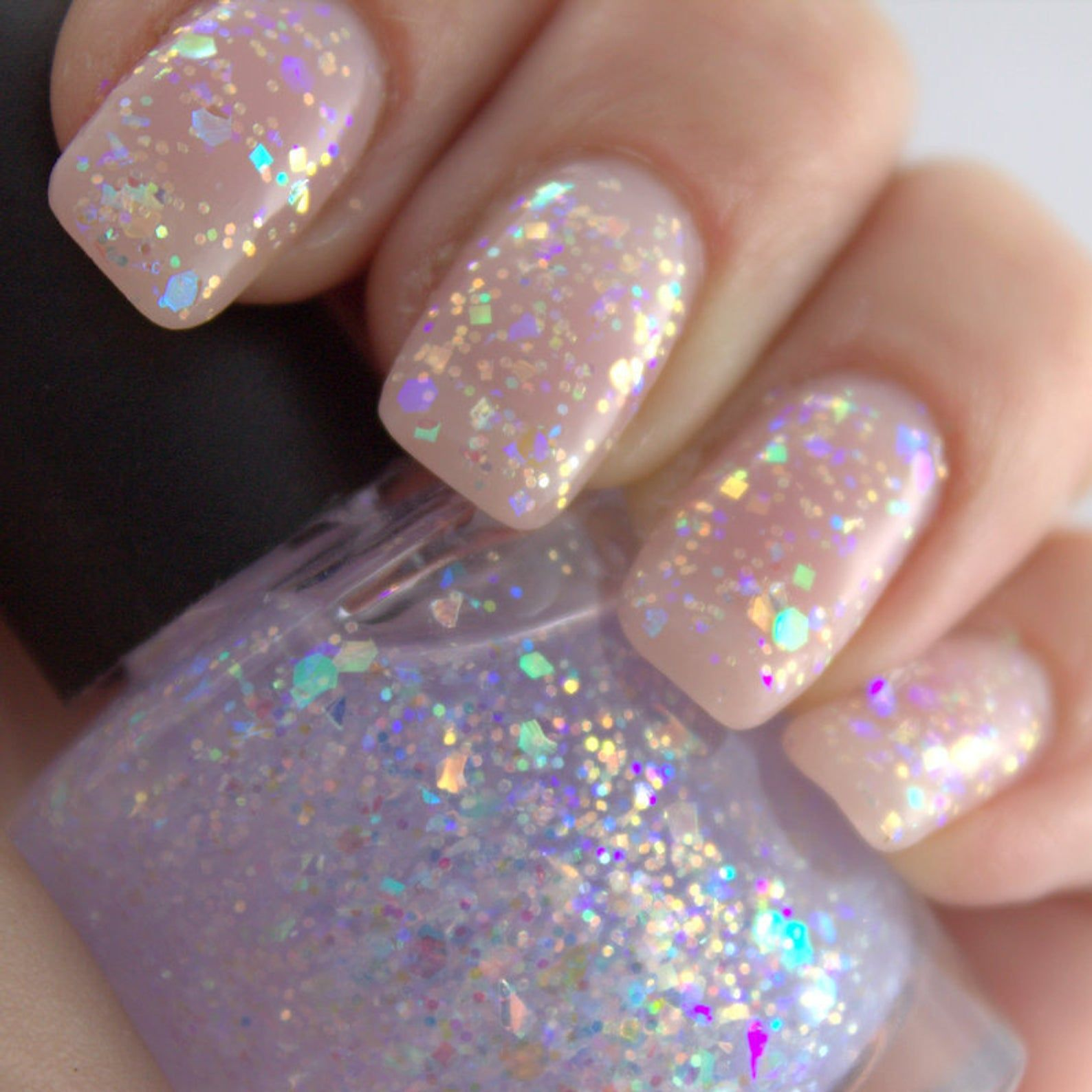 Piggieluv Freehand Stairway To Heaven Nail Art: Shattered Opal Opalescent Iridescent Glitter Nail Polish 5