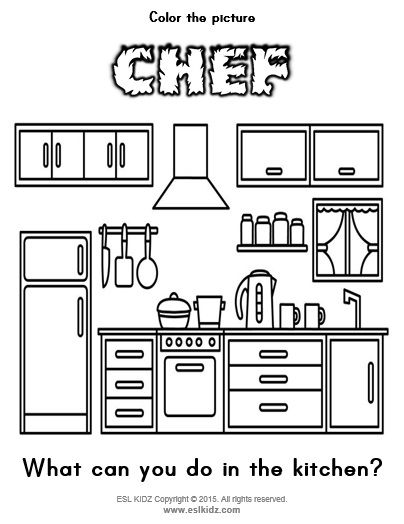 Kitchen Coloring Page #eslkidz #chef #kitchen #