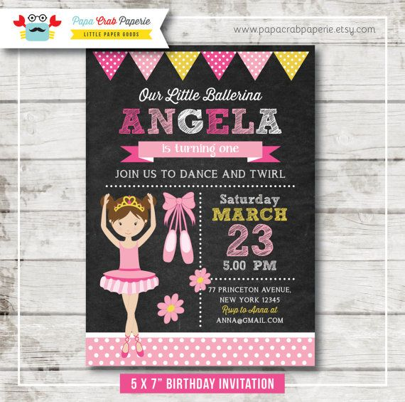 Little Ballerina Chalkboard Birthday Party Invitation Diy Party