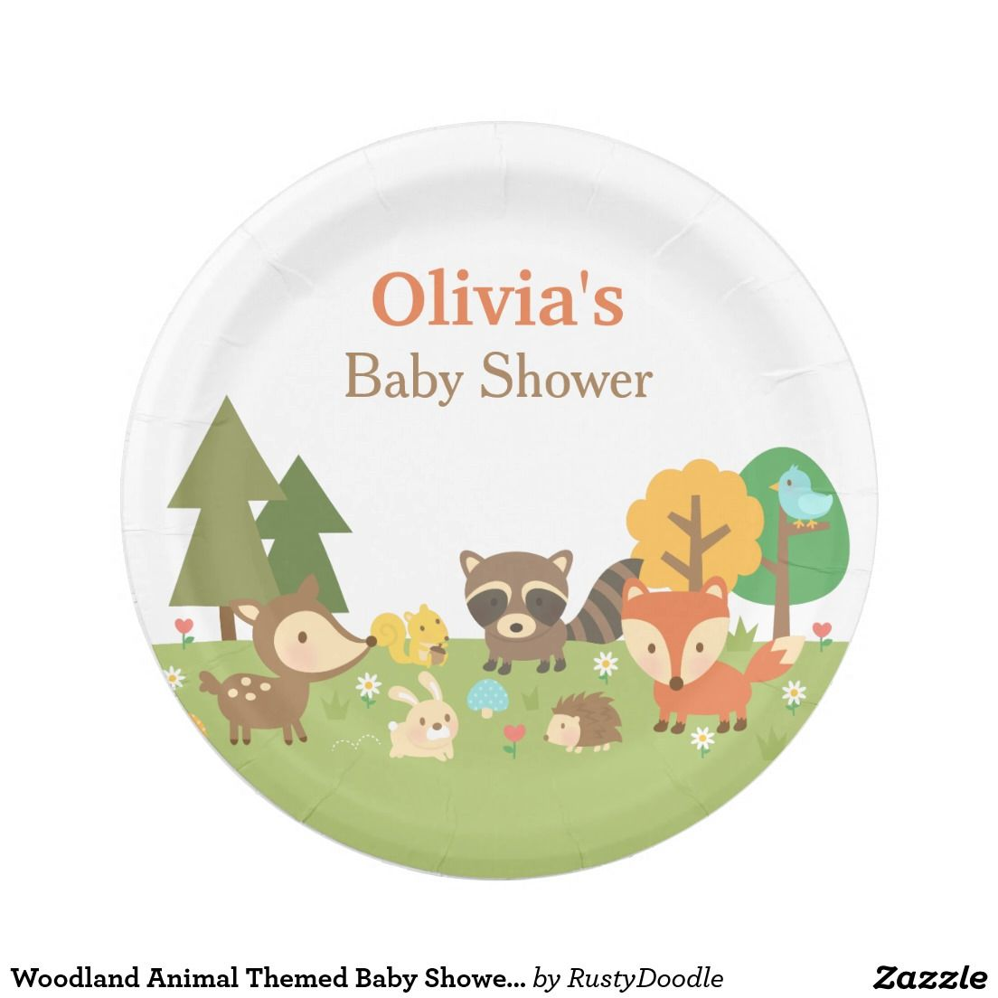 Woodland Animal Themed Baby Shower Party Supplies 7 Inch Paper Plate  sc 1 st  Pinterest & Woodland Animal Themed Baby Shower Party Supplies Paper Plate | Baby ...