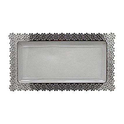 6 \u2013 Pack Exquisite Plastic Clear Plate With Silver Edged Flower Plastic Serving Tray Large \u2013 9 Inch.  sc 1 st  Pinterest & Amazon.com | 6 - Pack Exquisite Plastic Clear Plate With Silver ...