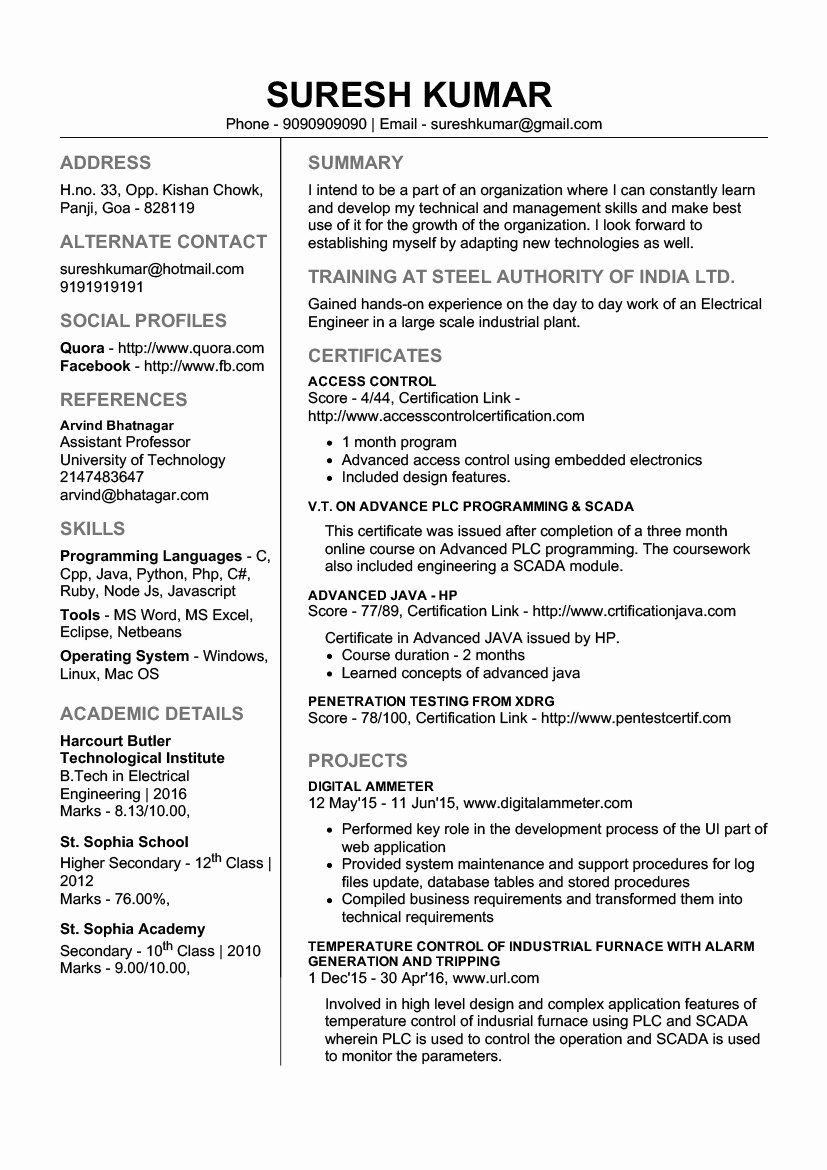 25 Sample Resume for Freshers in 2020 Downloadable