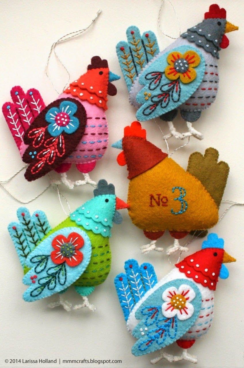 Mmmcrafts French Hen Pattern Is In Zee Shop Felt Crafts Patterns Felt Ornaments Felt Christmas Ornaments