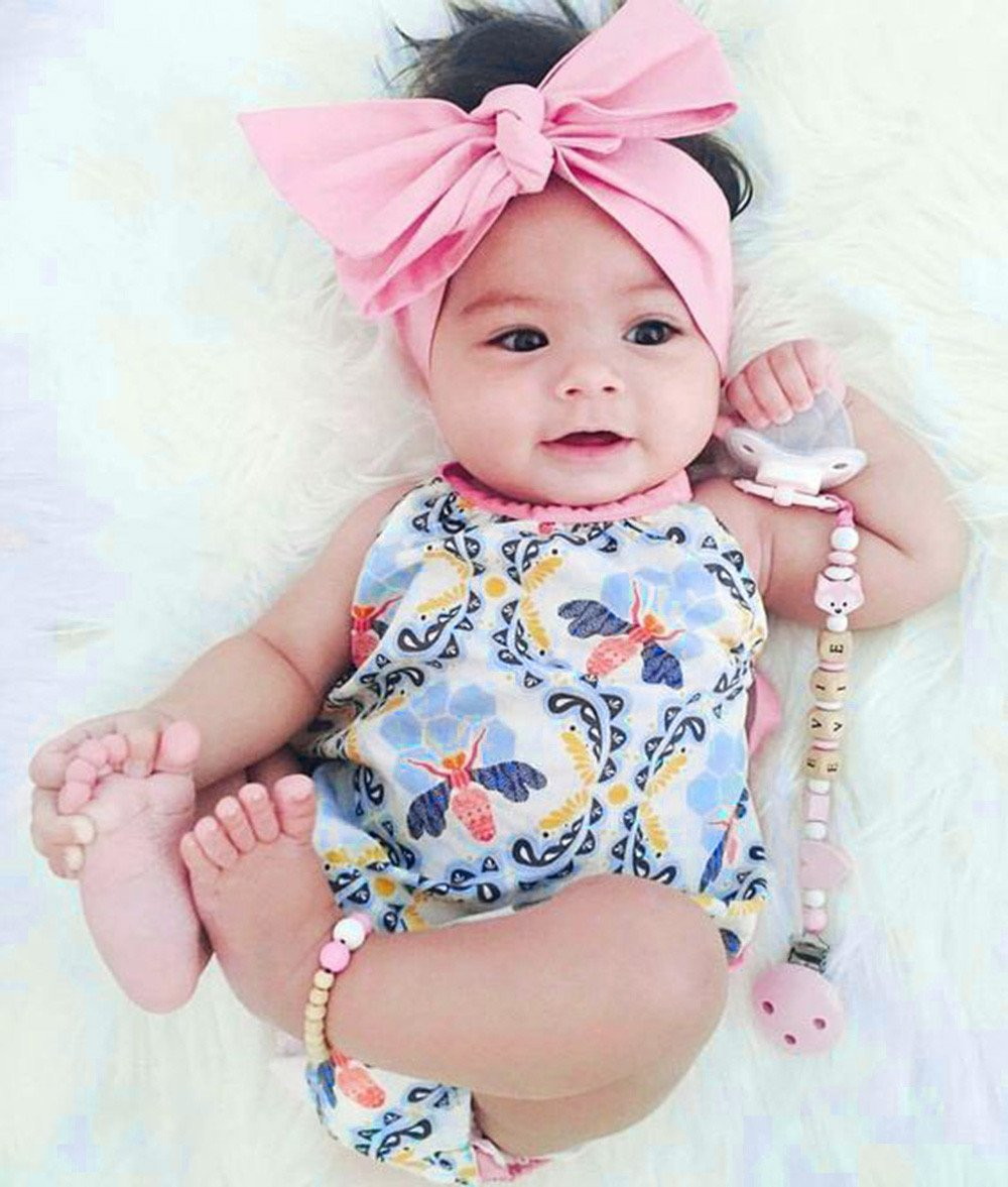 a4f53ca6f92 2Pcs Baby Girls Infant Floral Toddler Jumpsuit Romper+Headband Set Clothes
