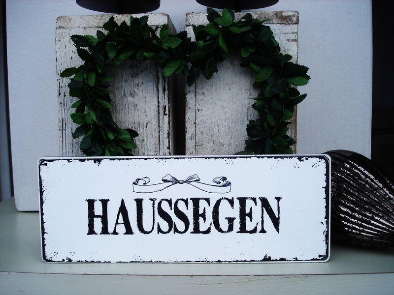 Shabby Vintage Holz Schild HAUSSEGEN franske   von SCHILDERMANUFAKTUR   ---  homestyle-accessoires  --- auf DaWanda.com