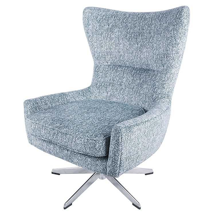 Best Swivel Indigo Blue With Metal Base Accent Chair Wingback 400 x 300