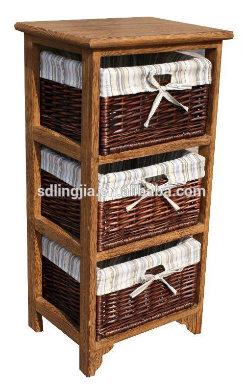 Vintage Brown 3 Drawer Wicker Basket Wood Cabinet Furniture Hobby ...