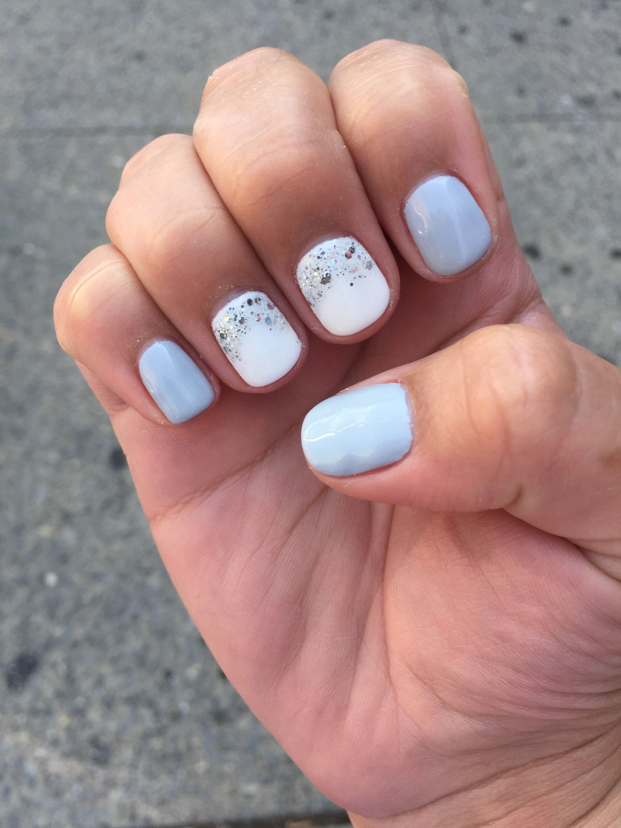 Grey And White Gel Manicure With Silver Detail Spring Nails Springnails Grey White Gelmanicure Gel Manicure Glitter Gel Nails Gel Nail Colors