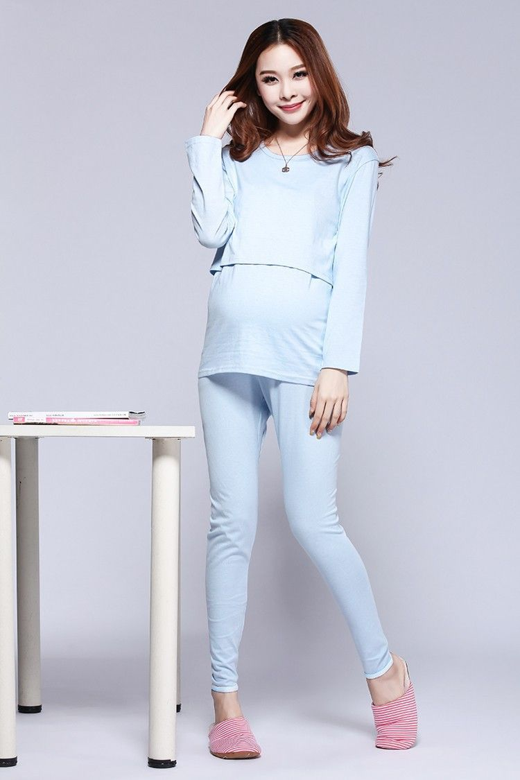 100% Cotton Maternity Nursing Clothes Sleepwear Pregnant Costume Top  Quality Pajamas Breastfeeding Maternity Clothes Mother Suit 921646188