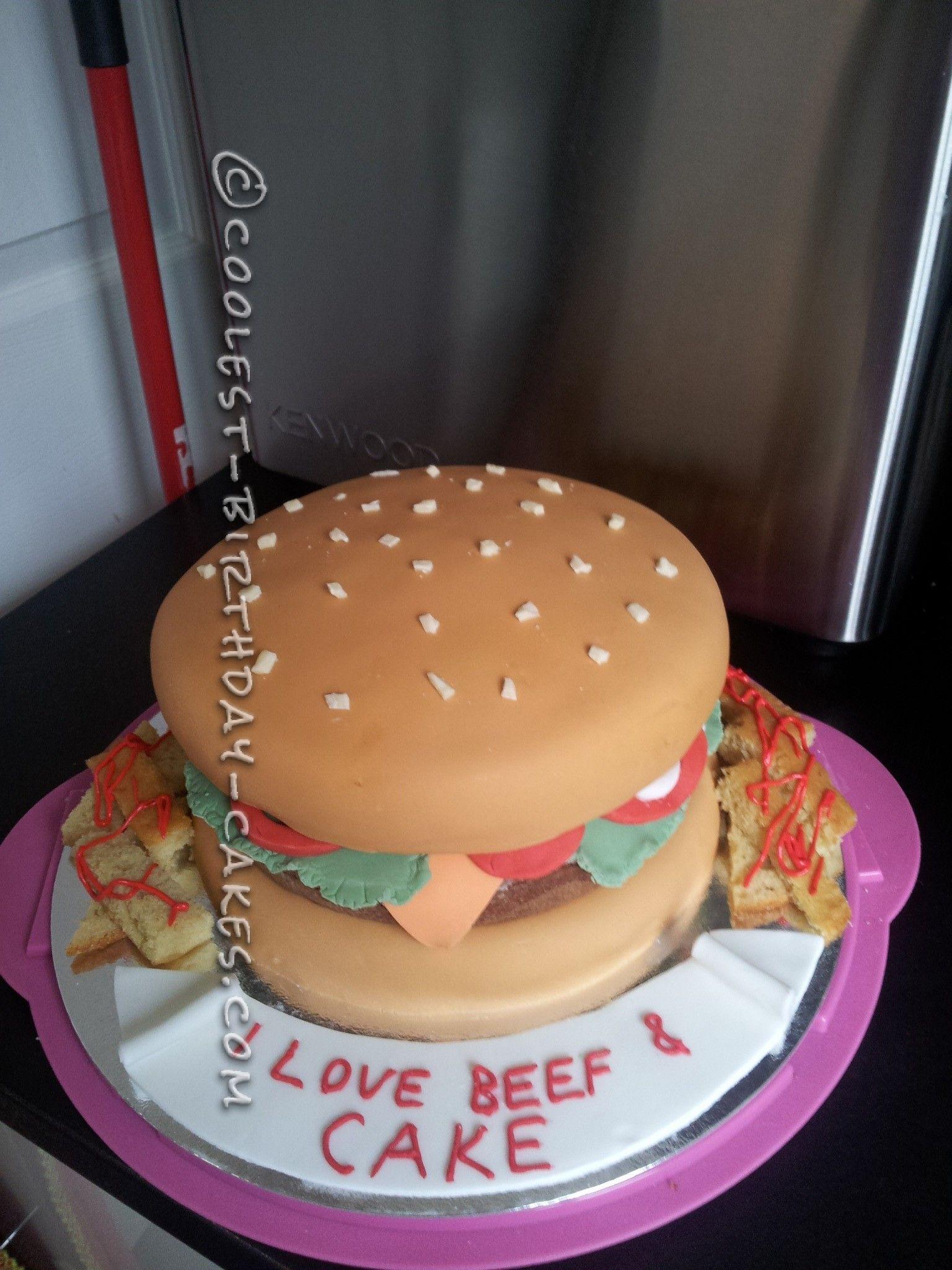 Coolest Homemade Fondant Cheeseburger Birthday Cake And Fries