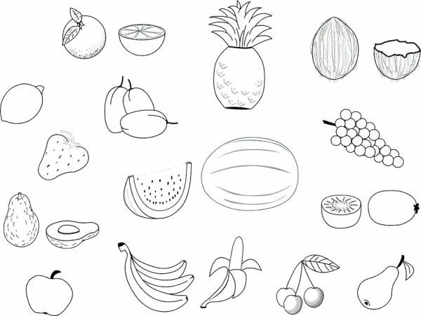 Raskraska Frukty Skachat Raspechatat Besplatno Raskraski Frukty Ovoshi Yagody Apple Coloring Pages Fruit Coloring Pages Food Coloring Pages