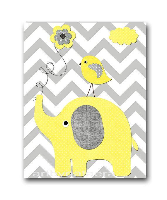 Yellow and Gray Giraffe Elephant Owl Canvas Art Nursery Wall Art ...