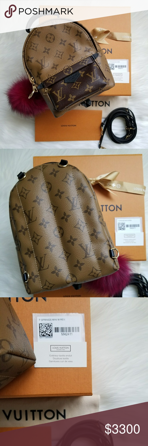 2e869877ef66 ❤NWT Louis Vuitton Palm Spring Mini Full Set❤ This lovely reverse monogram  backpack is