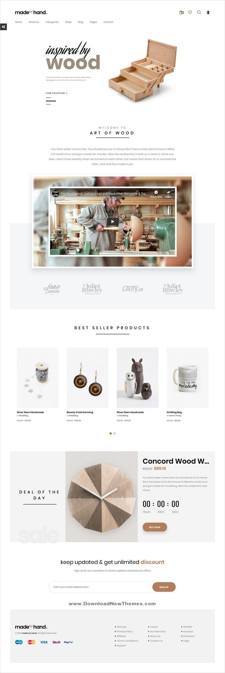 Made By Hand Is A Clean Minimal And Modern Design Responsive Prestashop Template For Online Shop Be Ecommerce Web Design Website Template Design Web Design