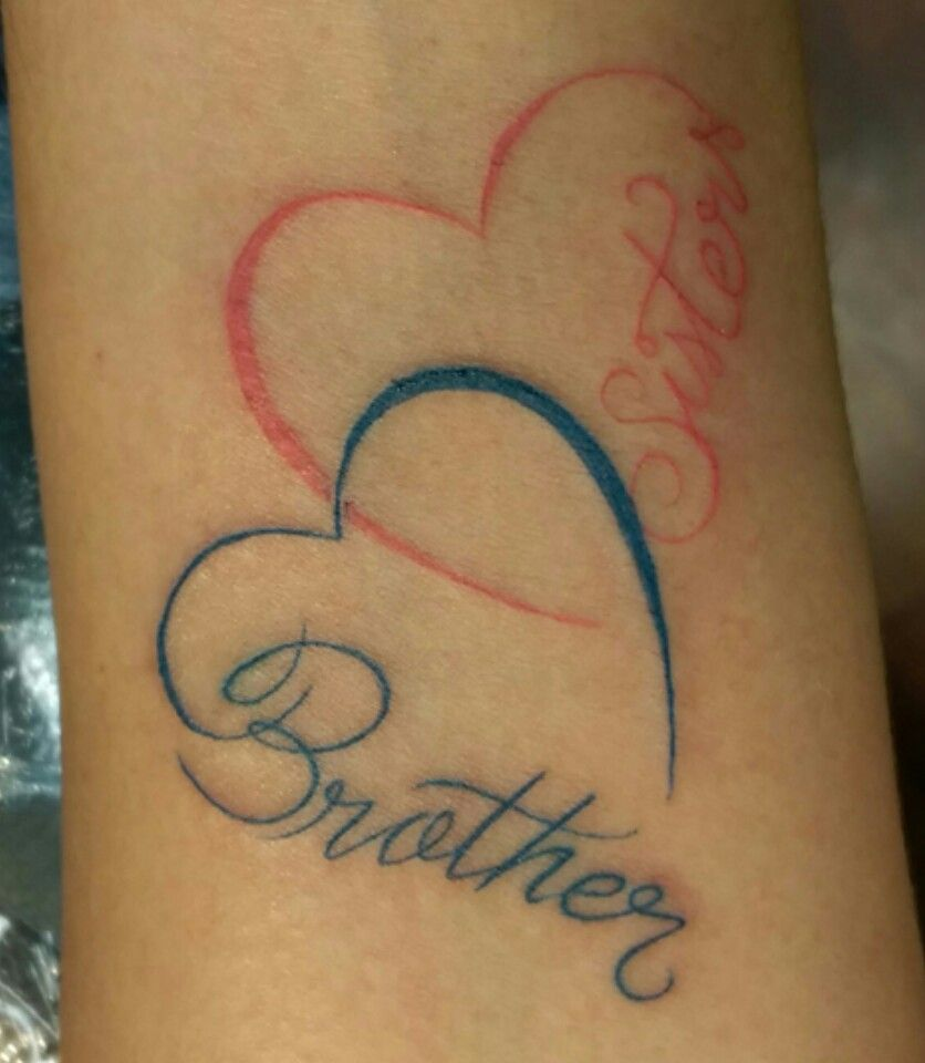 Sister brother double heart tat pinterest tattoo for Sister tattoos pinterest