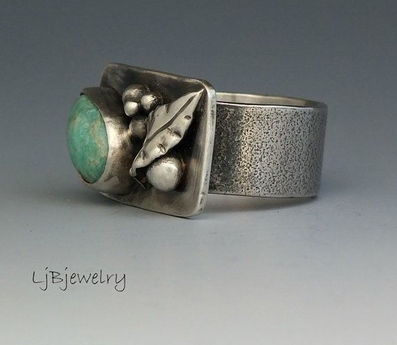Silver Ring Amazonite Ring Statement Ring Metalsmith by LjBjewelry