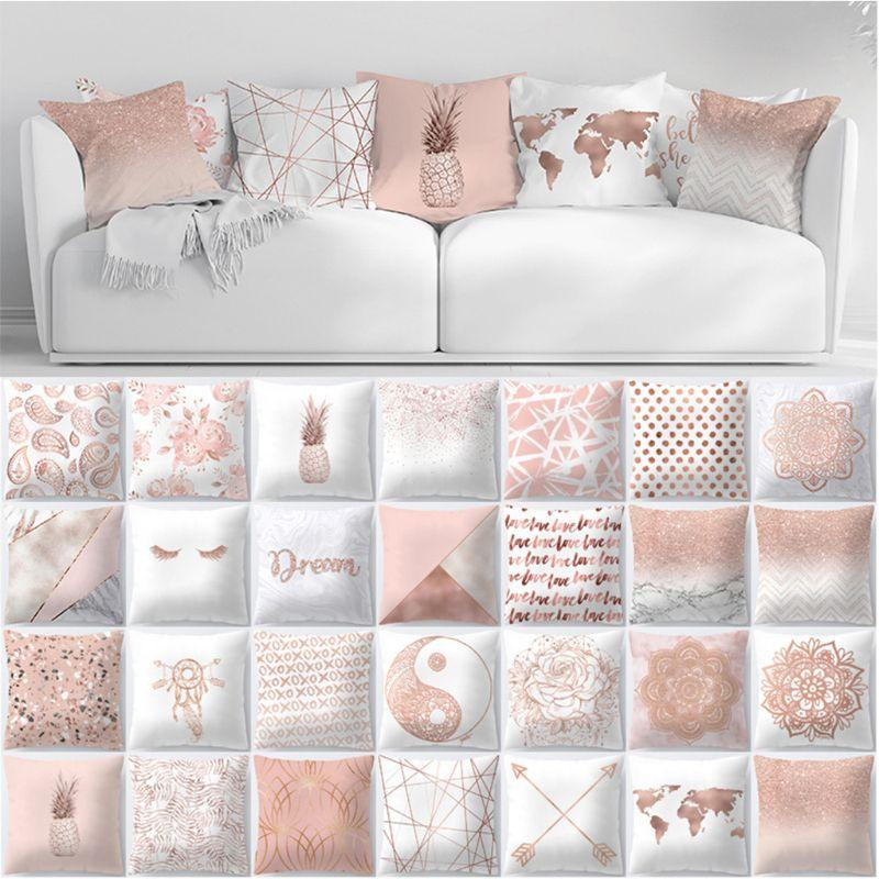 Xlmodel Custom 8888 Material Polyester Dimensions 45x45cm 17 72x17 72in Approx Rose Gold Pillow Cushions On Sofa Rose Gold Cushions