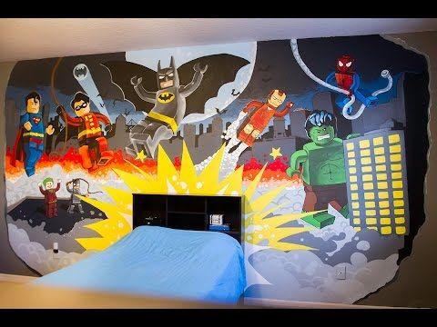 Lego Super Hero Mural Youtube Superhero Wall Mural Superhero