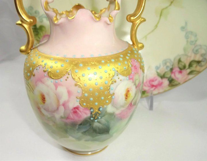 Antique Willets Belleek Jeweled And Artist Signed Vase Beautiful