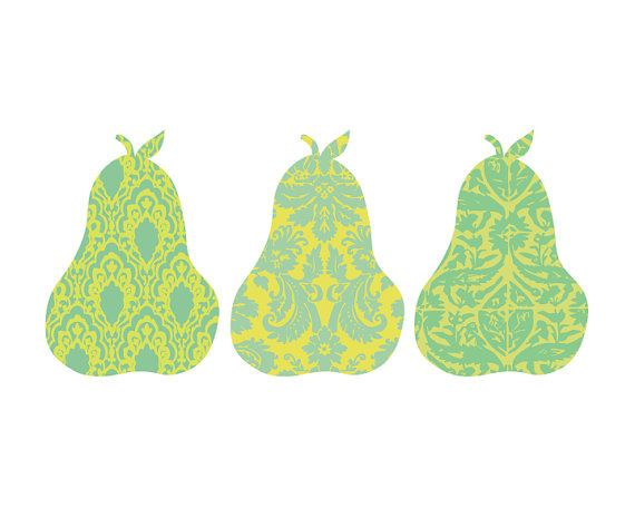 pears in art   Pear art , made from damask, also on Etsy. Aren't they cute?