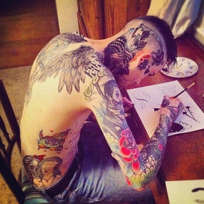 Cool back of head tattoos for men full body tattoos for Full head tattoo