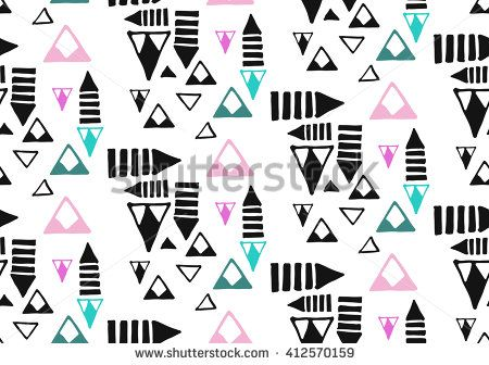 American indian ethnic geometric seamless pattern.Hand drawn ornament.Pastel colors and black vector illustration.Texture.Aztec abstract geometric art print.Wallpaper,cloth design,fabric,paper,textile - stock vector