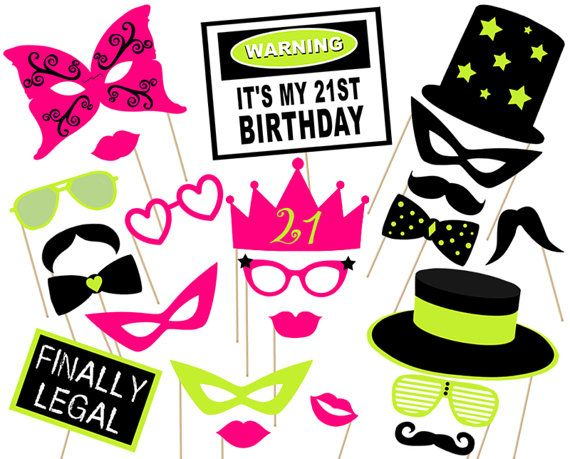 21st party Photo booth Props Printable  Instant by aliciapatios