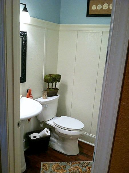 Bathroom Makeovers With Wainscoting cottage powder room wainscot, board batten, paneling paint, powder