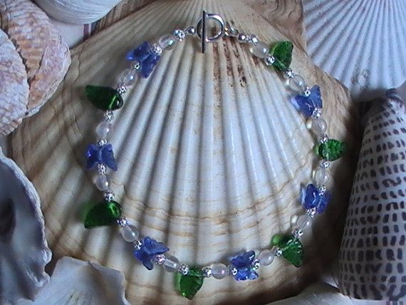 Sapphire Blue Butterflies Leaves Anklet by dragonflyridge on Etsy, $10.00