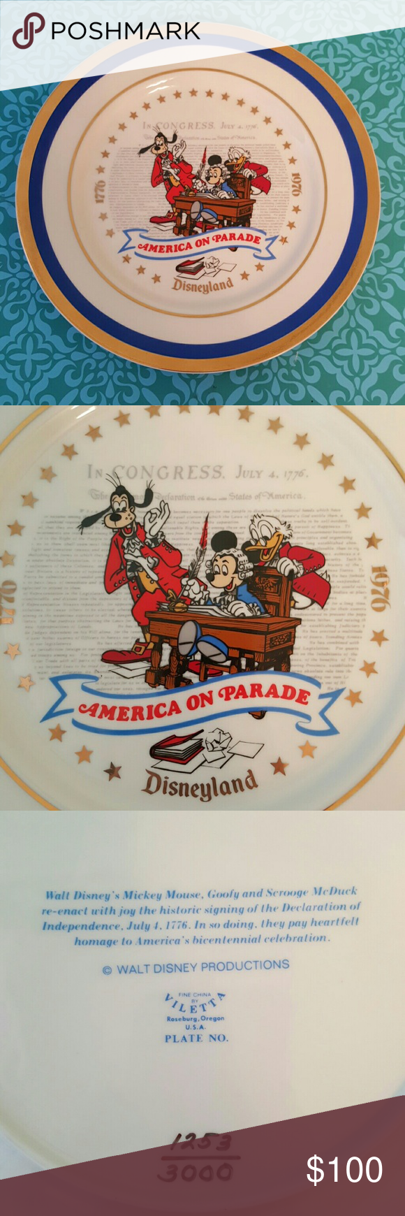 Spotted while shopping on Poshmark: Disney America on Parade 1976 Bicentennial Plate! #poshmark #fashion #shopping #style #disney  #Other
