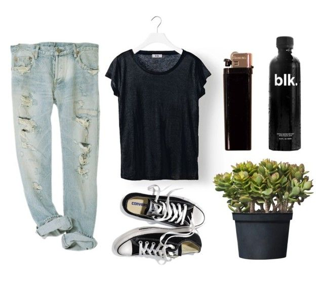 """""""Chill"""" by vv0lf ❤ liked on Polyvore featuring Acne Studios, Victoria's Secret, ripped jeans, acne, black, tee, plant, jeans, summer and converse"""