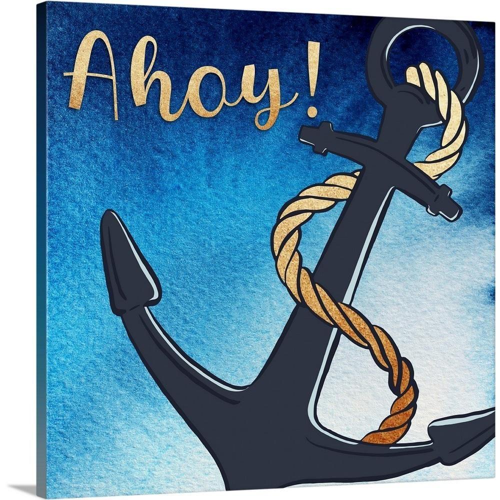 Greatbigcanvas Ahoy Anchor By Inner Circle Canvas Wall Art 2504531 24 16x16 Circle Canvas Canvas Wall Art Anchor Wall Art