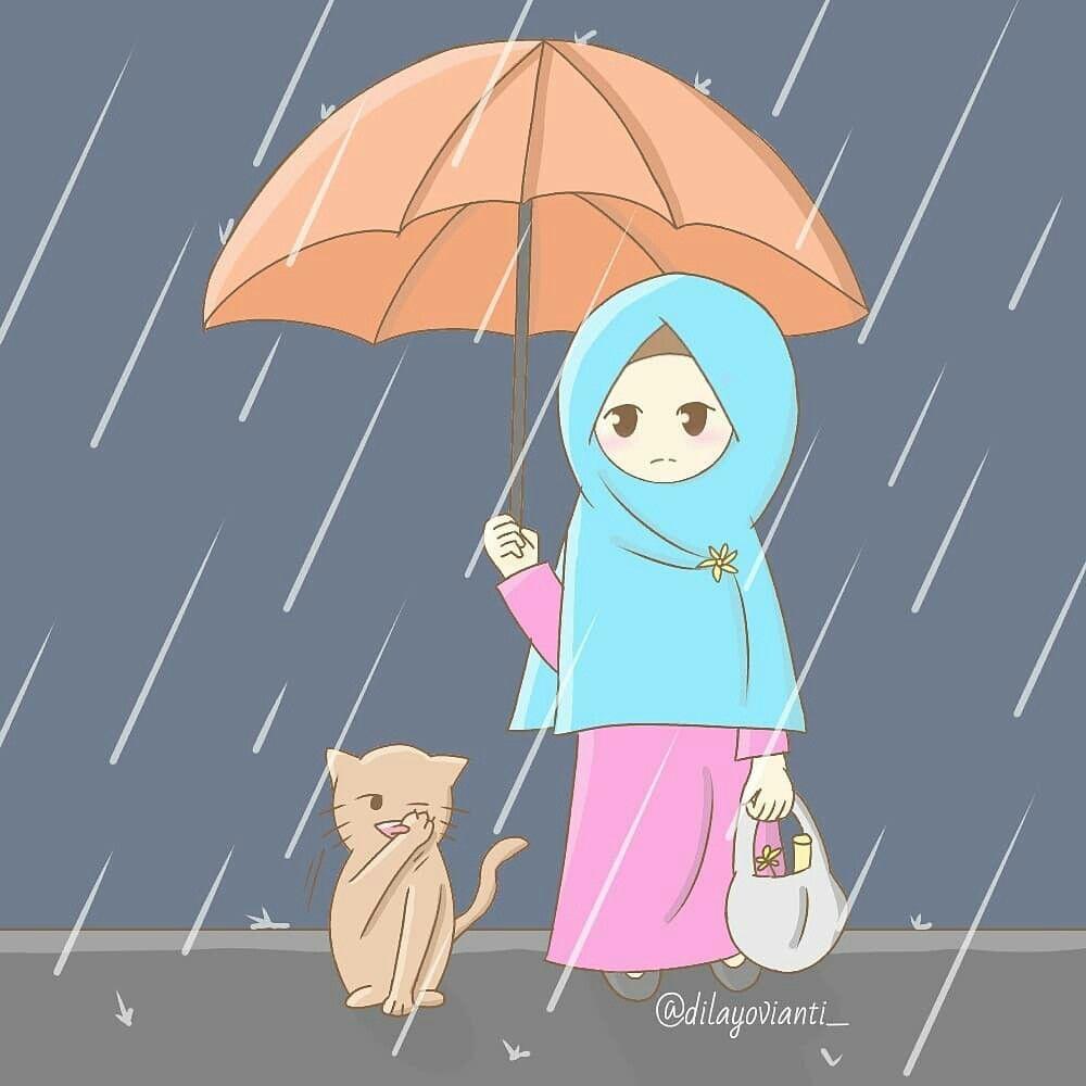 Hujan Ilustrasi Karakter Seni Kucing Kartun