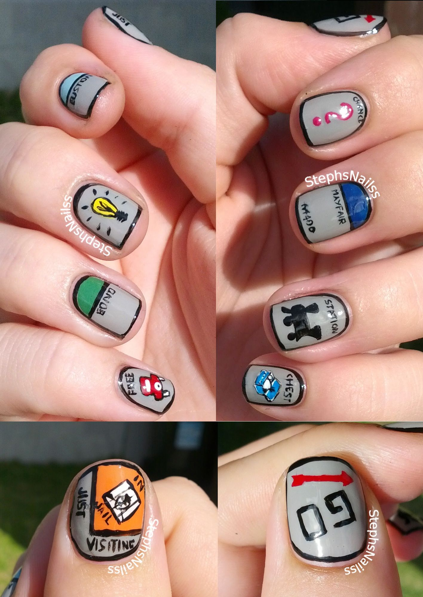 Stephsnailss Monopoly Nails Nail Art Toys Games Pinterest