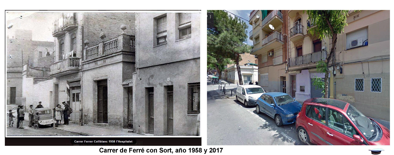 Carrer de Ferré con sort, año 1958 y 2017