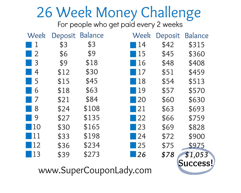 It is a photo of Zany 26 Week Savings Plan Printable