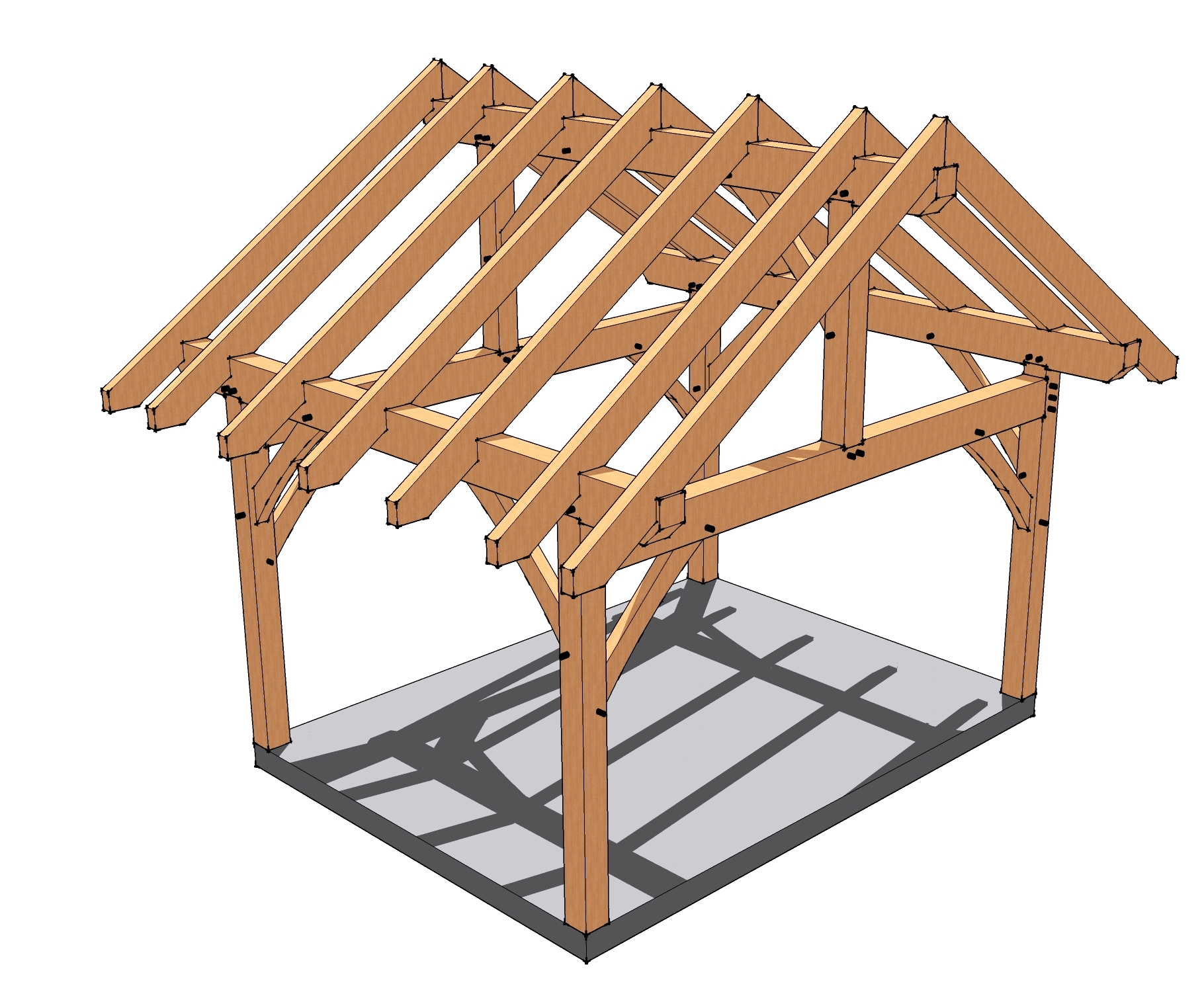 12x16 timber frame porch timber frames porches and porch for Simple gazebo plans