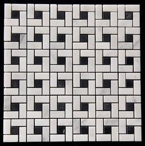 Honed Marbled Spiral Mosaic Tile Statuary White