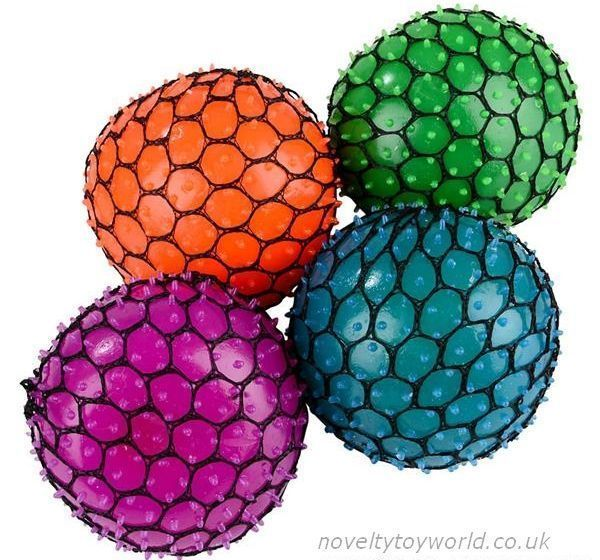 3e6c9119f A stress relieving novelty feating a squeezable ball in a mesh net. In  assorted colours and measuring 7cm. Wholesale bulk buy from 144 units.