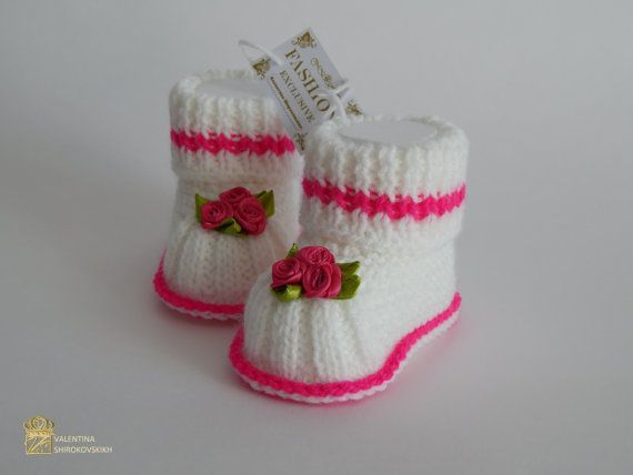 Knitted Mary Jane Baby Booties Baby Girl Booties Baby Booties