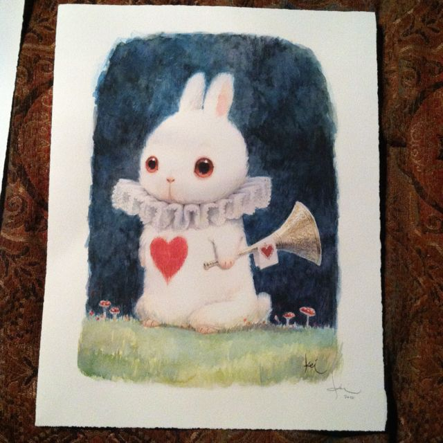 Kei Acedera conceptual artist for Tim Burton's Alice in Wonderland. White Rabbitt print I bought today!