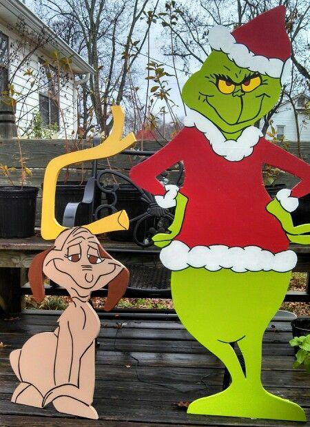 Grinch And Max Wood Christmas Yard Art