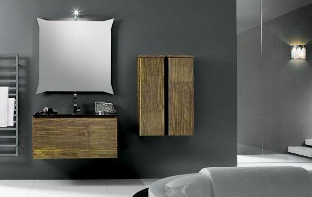 Moderne Badmöbel Set Holz Optik Wandspiegel Beleuchtung