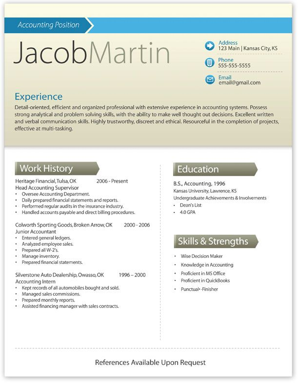 Modern Resume Template Modern résumé ideas Pinterest Modern - How To Open A Resume Template In Word 2007