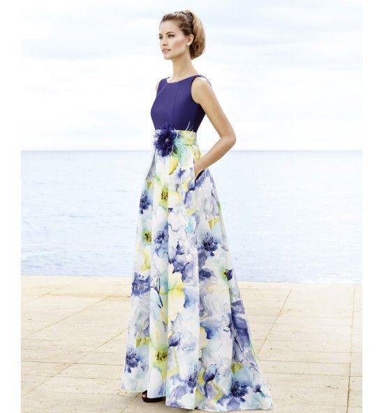 92bdb02c1ea17 Vestido de fiesta largo muy juvenil con estampado flora difuminado ...