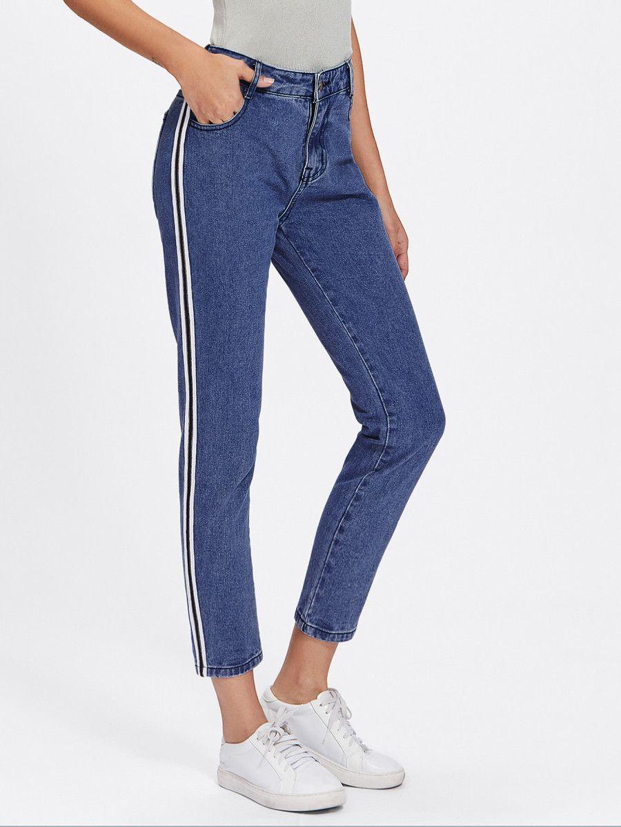 9ff5fc6ed04b Stripe Side Jeans -SheIn(Sheinside)