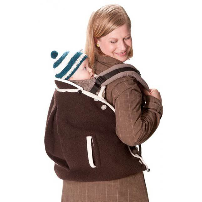 Cappotto portabebè in lana cotta con cappuccio Mamalila