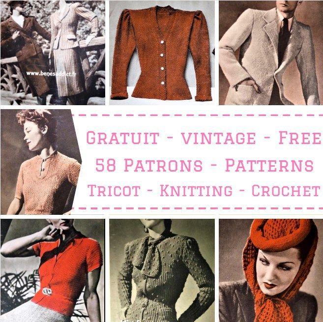 Gratuit 58 Patrons Tricot Crochet Vintage Free Knitting