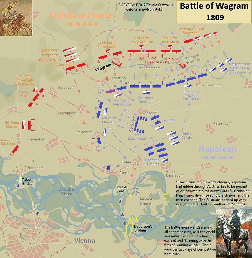 Battle Of Wagram 1809 Maps Pinterest Napoleonic Wars War Of